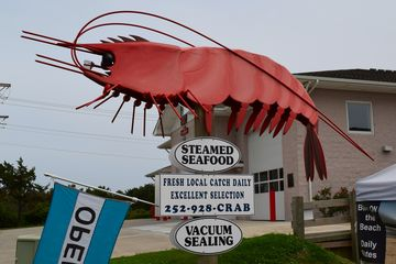 Elyse found this shrimp sign, next to the fire department, to be rather amusing.