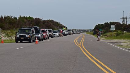 The line for the ferry at the Ocracoke terminal.