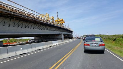 Backup leading up to the Bonner Bridge. The new bridge is being built to the left.