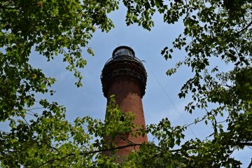 The Currituck Beach Lighthouse. Some restoration work was going on around the balcony at the time of my visit.