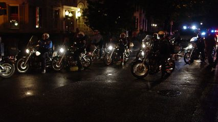 The police were also along for the march with a huge complement of officers, most on motorcycles.