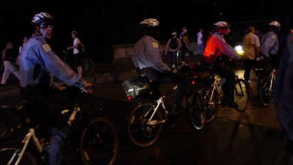 There were lots of cops on bikes, trying to act as a buffer between the demonstrators and any potential targets.