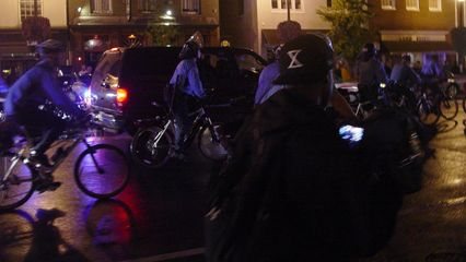 At one point, the police managed to get the center of M Street, and had the demonstrators to the sides.