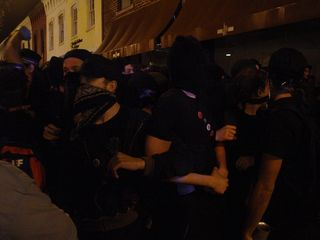 As the march eventually stalled, demonstrators locked arms.