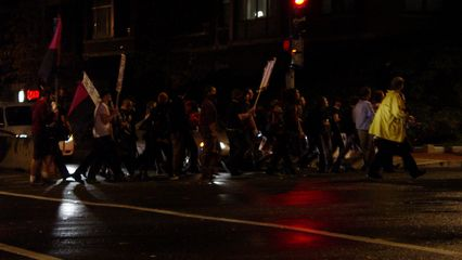 The black bloc that reorganized east of the police lines marched southeast along Pennsylvania Avenue in more or less single file.