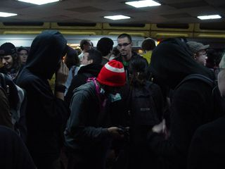 The platform at Foggy Bottom Metro, filled with anarchists...