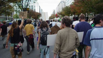 The march continues, heading west on K Street.