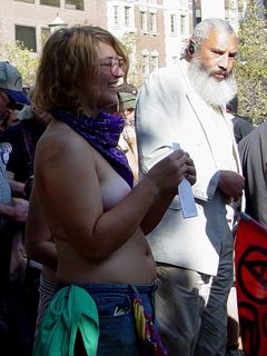 Some people were noticeably uncomfortable while all the toplessness was going on, such as this gentleman, whom we had previously heard speak at A16.