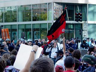 Occupying the intersection west of the World Bank.