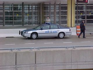 At Washington National Airport, the State Police were out and about, with their blinkies on.