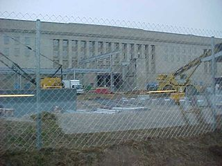 This area of the Pentagon is NOT the area damaged on September 11th (that's two sides around the building going left).  This is the construction area for the new entrance facility, where rail and bus passengers will go when it's finished to get screened for entry into the Pentagon.