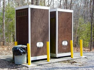 Even out by Lake Moomaw, the place to answer nature's call is convenient, if not always fresh-smelling, as evidenced by this set of port-a-potties.