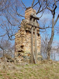 At Monticello, this chimney stands tall, braced slightly.