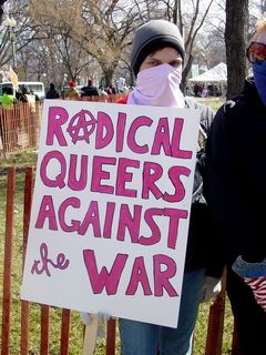 """The """"radical queers"""" group had staked out their space along 23rd Street, and stood to the side."""