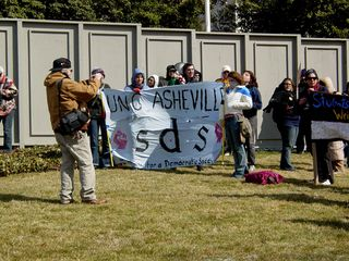 The various SDS chapters had their banners displayed, as they repeated various anti-war chants.