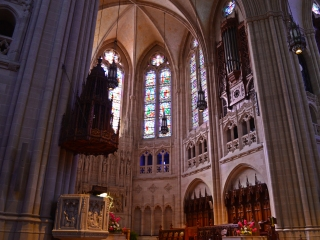 Elyse captured this view of the front of the sanctuary, showing the pulpit with its elaborately designed sounding board, as well as some of the organ pipes.
