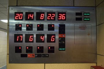 Elevator annunciator in the basement, showing the floor location of all of the elevators in the system.