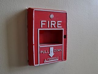 While we were up here, we also took a look at the fire alarm equipment in the Cathedral. The pull stations are your basic Cerberus Pyrotronics single-action station, either MS-51 or MS-57.