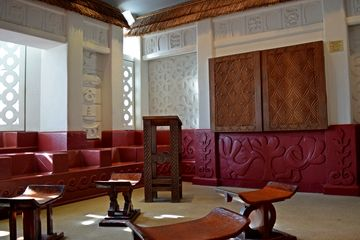 The African Heritage Room, designed to resemble the central courtyard of an Asante temple in Ghana.