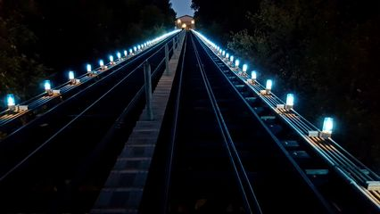 The tracks on the Monongahela Incline, viewed from the lower station.