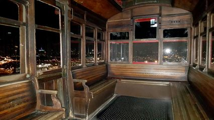 Interior of the northern (left when viewed from the top station) car on the Duquesne Incline. I was surprised about how much wood was in this car.