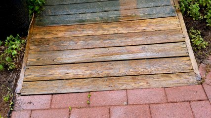 After that, I did the deck in an orderly manner, starting at the bottom and going up towards the shed door.