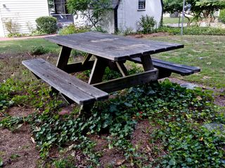 The picnic table in its usual location, prior to washing. Note the very dark color of the upper surfaces, and notice the markings from where the potted plants used to be. Would you ever want to eat at this table?