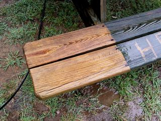 Now washing the other bench, both boards at once this time.