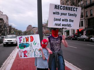 """Various signs displaying the """"reconnect"""" theme."""
