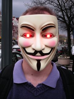 One Anon attached red LEDs to his Guy Fawkes mask, creating a certain effect with the eyes...