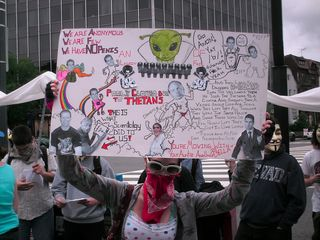 This amazingly detailed sign makes references to Xenu, thetans, Anonymous, and Scientology in general, with a humorous, though slightly off-color, twist.