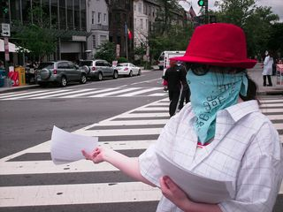 Handing out flyers on the Connecticut Avenue median.