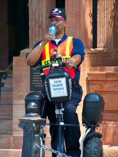 Operation Sea Arrrgh was also the last raid where Scientology hired a rent-a-cop on a Segway to keep demonstrators away from the front of the Org.