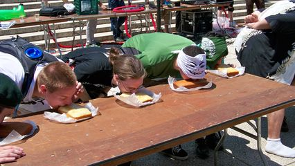 The cake eating contest. The goal in this contest was to completely consume your cake in the fastest time, using only your face.