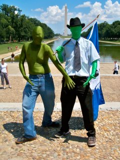 Two Anons, I believe from Boston, showed up wearing green zentai suits.
