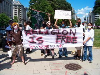 A spirited bunch raided McPherson Square.
