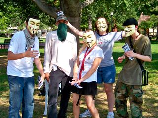This raid also marked the first raid for JB (center), Anyman (far right), and a few others. Here, everyone's all smiles in Lafayette Square behind their Guy Fawkes masks.