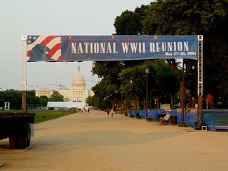 On May 8, they were already setting up for the dedication of the World War II Memorial, which would happen at the end of the month.