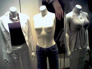 On July 21, at Pentagon City Mall outside Washington, I found a mannequin baring it all!  Oh, and without arms, too.