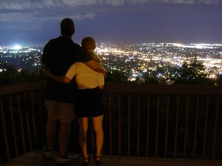 On July 27, I went to Roanoke.  There, I encountered a couple that was willing to pose for a few night photos at the star.  This was intended as a sequel to my original couple-at-the-star photo I took in March 2003 as part of my Mill Mountain Park By Night photo set.  However, the photos were for the most part unusable because the shadow of my tripod was visible in the shot.