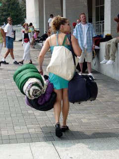 As you can see, a lot of people actually camped outside the Washington Convention Center and definitely packed for it, with this woman carrying two large bags and a sleeping bag.