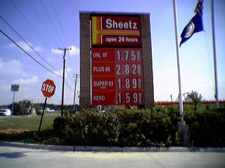 On August 26, Sheetz in Staunton was selling some REALLY expensive mid-grade gas.  This was actually a blooper, with the real price being $1.82 per gallon.