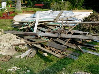 This is the debris from the old deck. This is all the boards, all the sides, the ivy, the latticework, you name it. Everything that came off went into this pile, and got carted off.