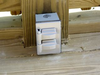 This is one of a few electrical outlets added to the porch to provide power for whatever we want to use.