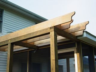 This is the pergola, as viewed from below. Note how it is uneven at the ends, by design.