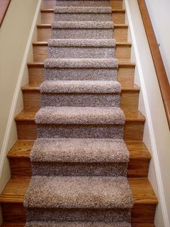 The new stairs have a runner installed over them, to make them doggy-accessible.