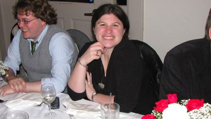 Sis is all smiles at the rehearsal dinner.