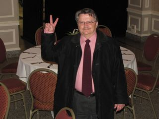 Uncle Johnny gives the peace sign for the camera before retiring for the night.