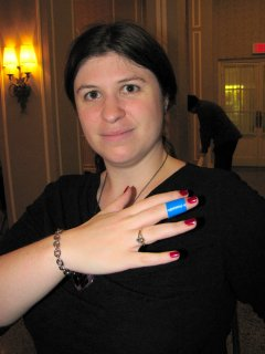 Sis shows off her band-aid after she accidentally cut her finger.