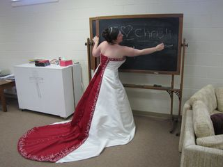 """This was Laura's idea, getting Sis to write """"I ♥ Chris"""" on the chalkboard. Then I suggested the """"by Ann Age 25"""" after a photo that we saw on Facebook."""